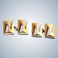 Estate Enamel and Brass Cuff Links