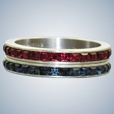 Pair of Estate Sterling Sapphire and Ruby Eternity Bands