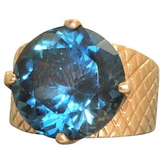 Estate 14K  8CT London Blue Topaz Ring