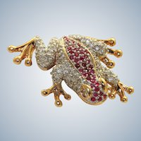 Estate 14K Ruby and Diamond Frog Brooch