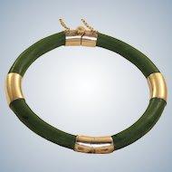 Vintage 18K Rose Gold Jade Bangle Bracelet