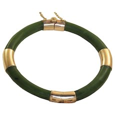 Vintage 18K Rose Gold Jade Bangle Bracelet