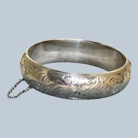 Sterling Etched Bozinoff Bangle Bracelet