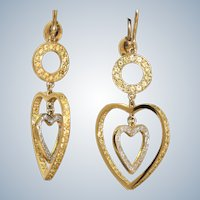 Estate 14K Two Tone Yellow and White Diamond Heart Earrings