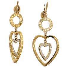 Estate 14K Two Tone Yellow and White Diamond Heart Earrings