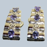 Estate 14KW Diamond and Tanzanite Pyramid Earrings