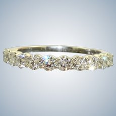 Estate Platinum 1.10 CT Diamond Half Eternity Band
