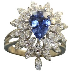 Estate 14KW 2.12 Ceylon Sapphire and Diamond Dinner Ring