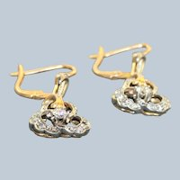 Estate 18 K @1900 Two Tone Diamond Earrings
