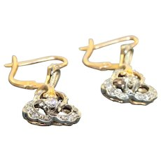 Estate 18 K @1900 Two Tone Diamond Earrings