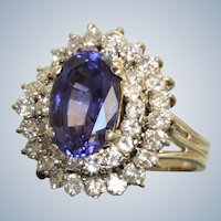Estate 14KW 4.19 CT Tanzanite and Diamond Ring