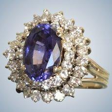 Estate 14KW 4.19 CT Tanzanite and Diamond Ring