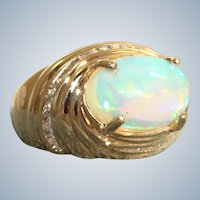 Estate 14K  4.30 CT Ethiopian Opal and Diamond Ring