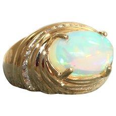 Estate 14K  4.30 CT Ethiopian Opal and Diamond Ring