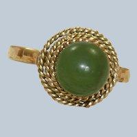 Vintage 18K Rose Gold Jade Ring