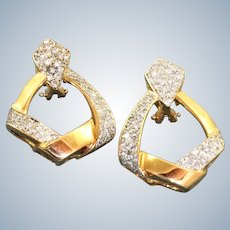 Estate 14K Door Knocker 1 CTW Omega Earrings