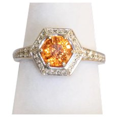14KW Spessartite Garnet and Diamond Ring