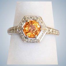 14KW Spessartite Garnet and Diamond Ring