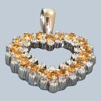 Estate 14KW Spessartite Garnet and Diamond Heart Pendant