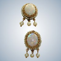 Estate 14K Opal Seed Pearl Dangle Earrings