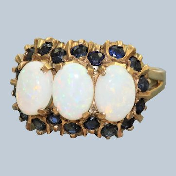 Retro 18K Three Stone Opal and Sapphire Ring