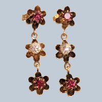 Estate 14K Rhodolite Garnet and Diamond Triple Butter Cup Earrings