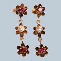 Estate 14K Rhodolite Garnet and Diamond Triple Butter Cup Earrings
