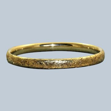 Estate 14K Chased Bangle