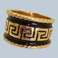 Estate 14K Greek Key Enamel Cigar Band