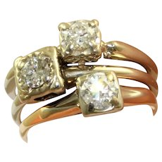 Set of 3 Stacked 1940's 14K @1.2 CTW Diamond Engagement Rings