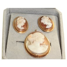 14K Shell Cameo Set