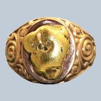Estate 10K Rose Gold Gold Nugget Signet Ring