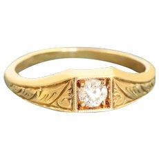Estate 14K 0.25 CT OEC Diamond Scroll Work Ring
