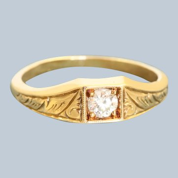 Estate 14K 0.25 CT OEC Diamond Scroll Work Ring