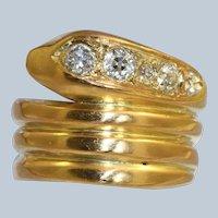Late Victorian 18K 0.50 CTW OEC Diamond Snake Ring