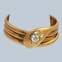 18K London 1917 0.20 CT OEC Diamond Snake Ring