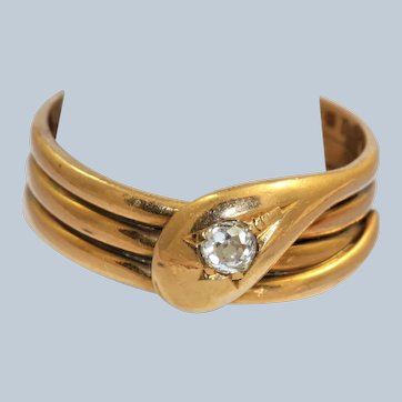 18K London 1917 0.20 CT OEC Diamond Snake Ring