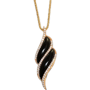 18K Diamond and Onyx Shrimp Necklace