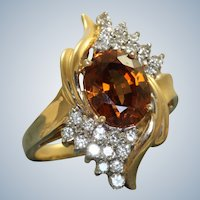Estate 14K Champagne Zircon and Diamond Ring