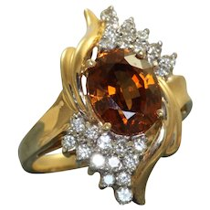 Estate 14K Champagne Zircon and Diamond Ring