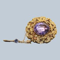 Estate 14K Repose Amethyst Brooch