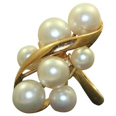 Estate 18K 7 Cultured Pearl Ring