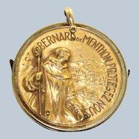 Estate Gold Filed St. Bernard Pendant with Knives