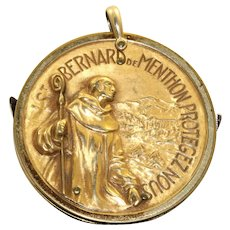 Estate Gold Filed St. Bernard Pendant with Knives