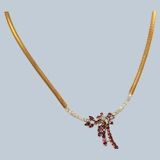 Estate 14K Italy Ruby and Diamond Necklace