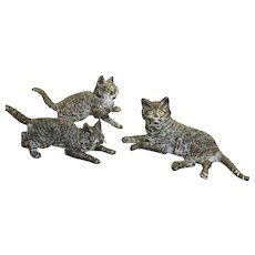 Set of 3 Cold Painted Bronze Cats