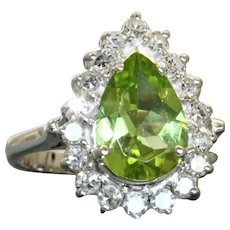 Estate 14KW 2.42 CT Pear Shaped Peridot and Diamond Ring