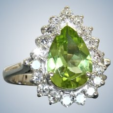 Estate 14KW 2.42 CT Pear Shaped Peridot and Diamond Ring