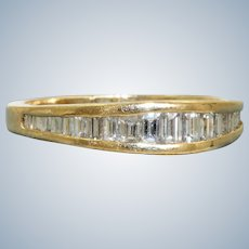 Estate 14K Baguette Pyramid Half Eternity Band