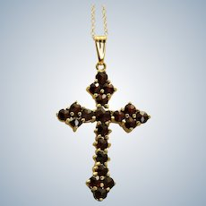 Estate 14K Rose Cut Garnet Pierced Cross